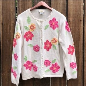 Talbots pnk floral embroider white knit cardigan L